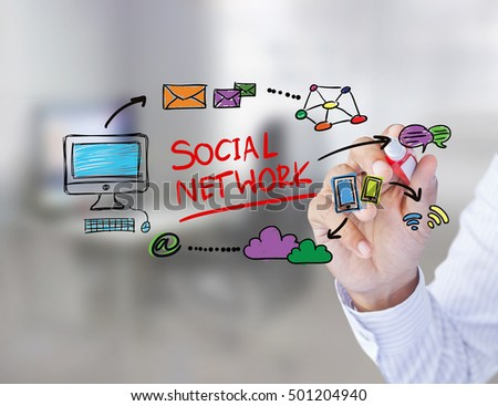 Business man drawing social network structure on a white board, social network concept