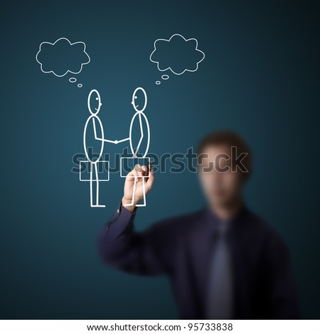 business man drawing two businessman checking hand and making deal with blank thinking bubble - stock photo