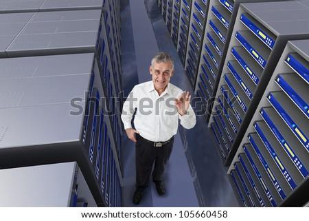 business man engineer in data center server room - stock photo