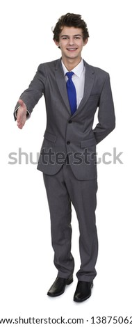 Business Man Extending Hand To Shake Isolated Over White Background