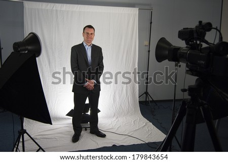 Business Man Filming a Website Video - stock photo