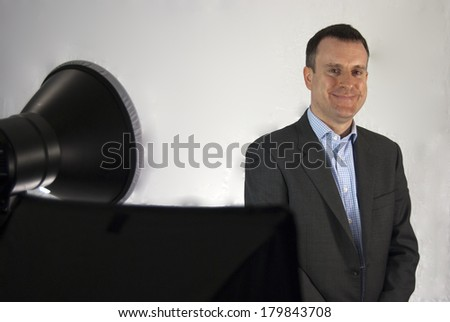 Business Man Filming a Website Video Close Up - stock photo