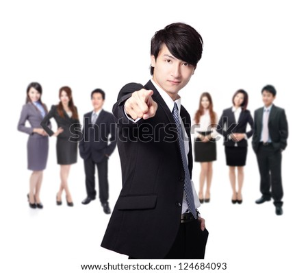 business man finger pointing at you, leading a business team group isolated on white background, asian model