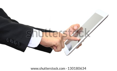 Business man finger pointing touch screen of digital tablet isolated on white - stock photo