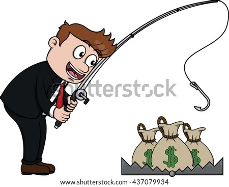 Business man fishing the money from trap - stock photo