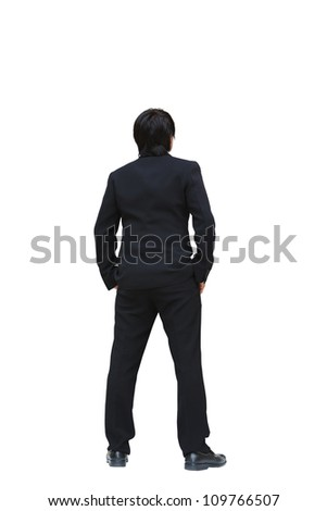 business man from the back looking at something, Isolated on white