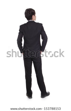 business man from the back - looking at something isolated over a white background, asian male