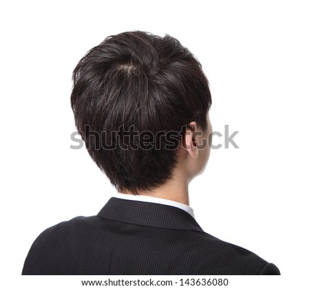 business man from the back - looking at something isolated over a white background, asian people