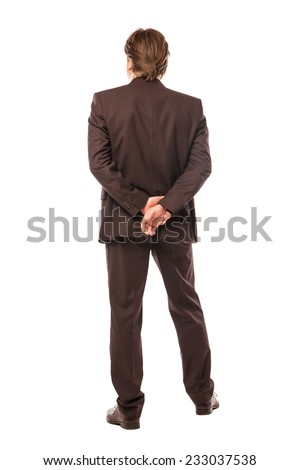 business man from the back looking at something isolated over white background - stock photo