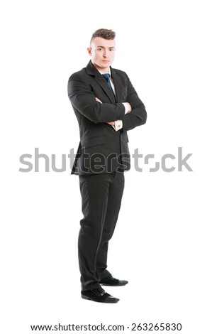 Business man full body standing isolated on white background - stock photo