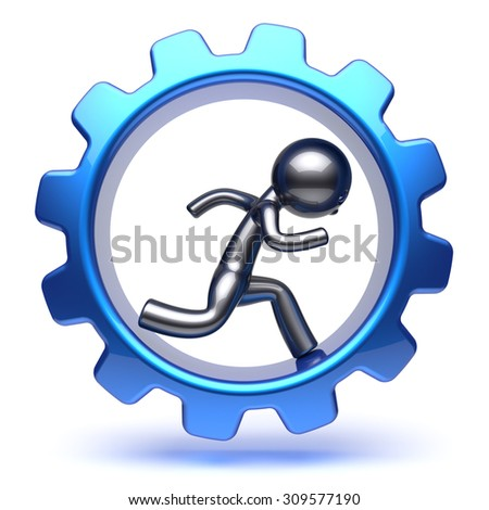 Business man gear wheel character cartoon guy running run inside rotate cogwheel stylized human hamster person worker blue gearwheel business career employment concept. 3d render isolated on white - stock photo