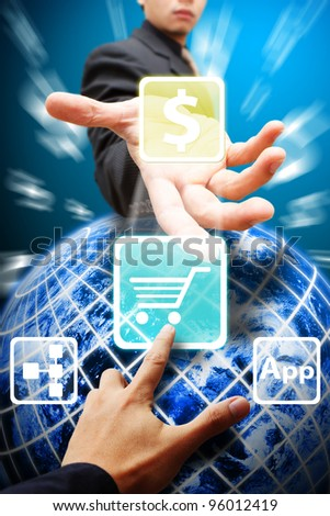 Business man give the Cart icon from the globe : Elements of this image furnished by NASA - stock photo