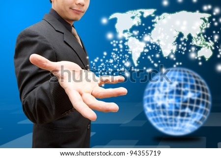 Business man give the world map to Globe