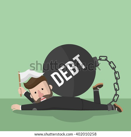Business man give up with debt bomb - stock photo