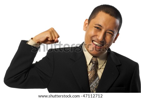 Business man gives punch isolated on white background - stock photo