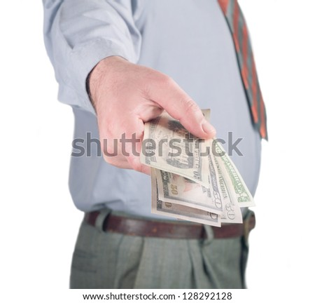 business man giving a money - stock photo