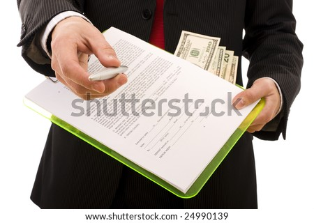 Business man giving a pen to sign a contract (home made contract)- Focus on the hand