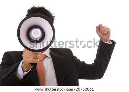 Business man giving an order with a megaphone - selective focus - stock photo