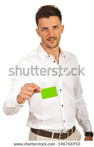 Business man giving blank green card isolated on white background - stock photo