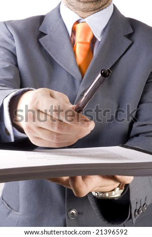 business man giving pappers to sign in a withe background