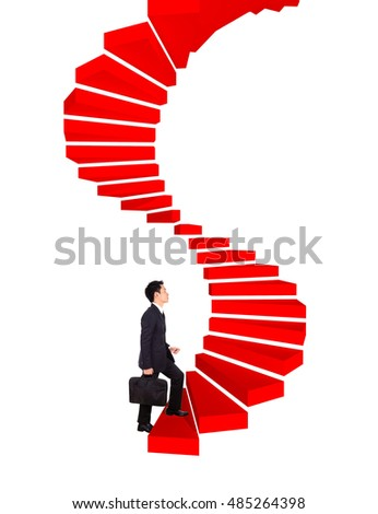 business man going upstairs in a curved staircase to success isolated on white background