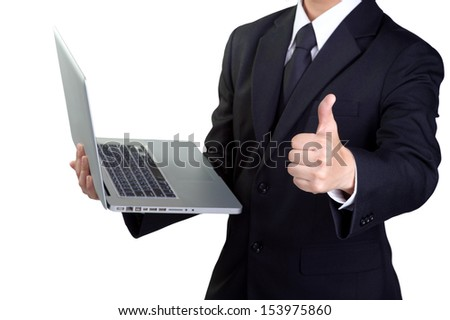 Business man  good hand and sucess hold notebook in isolated - stock photo