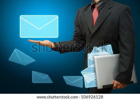 Business man Got E mail - stock photo