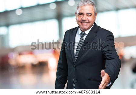 business man greeting gesture - stock photo
