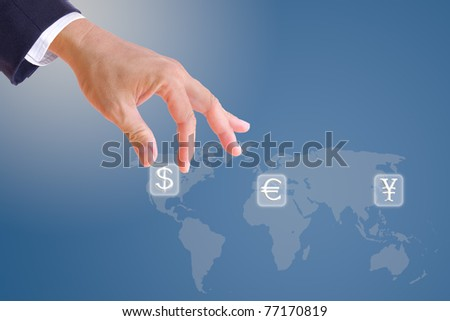 business man hand bring up dollar sign button