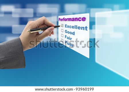Business Man Hand Check on Excellent Choice on Annual Performance Evaluation audit
