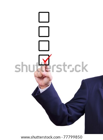 business man hand choose check mark on box - stock photo