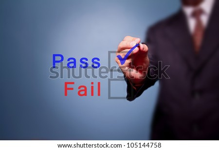 business man hand choose Pass box - stock photo