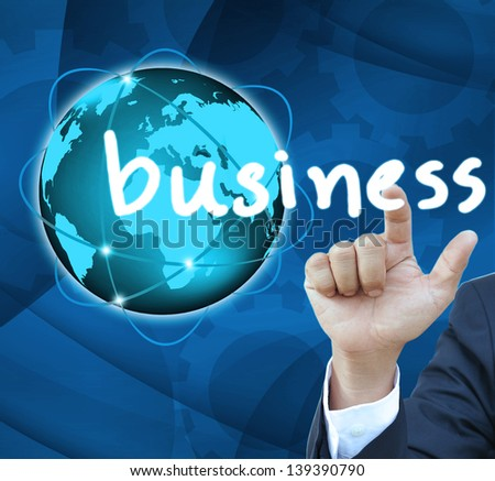 Business man hand Contact Of bussinet button - stock photo