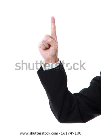 Business man hand counting one on a white background