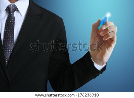 Business man hand drawing the whiteboard  - stock photo