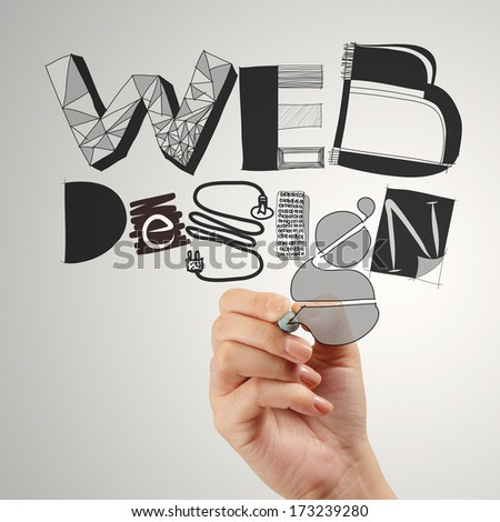 business man hand drawing web design diagram as concept - stock photo