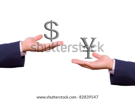 business man hand exchange dollar and yen sign