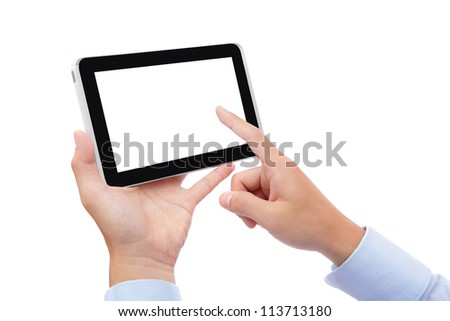 business man hand finger touch pc with empty white screen for copy space isolated on white background (Path in the image) - stock photo