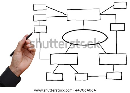 Business man hand holding black pen writing and sketching business planning and idea, connecting to workflow ideas, empty space for your text, design, or copyspace.  - stock photo