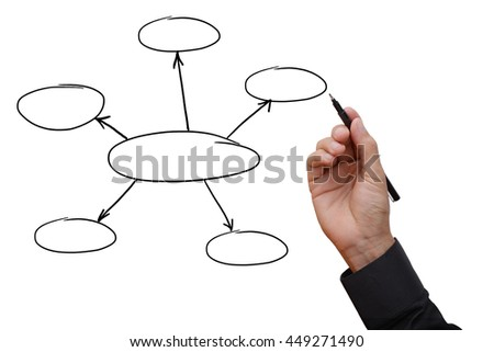 Business man hand holding black pen writing and sketching business planning and work-flow diagram, empty space for your text, design, or copyspace.  - stock photo
