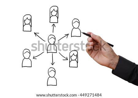 Business man hand holding black pen writing and sketching diagram of people connection on white space in the air, business concept of social network.  - stock photo