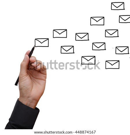 Business man hand holding black pen writing stacked of letter flying in blank space, metaphor to social communication network in writing e-mail, correspondence, get many mail box.
