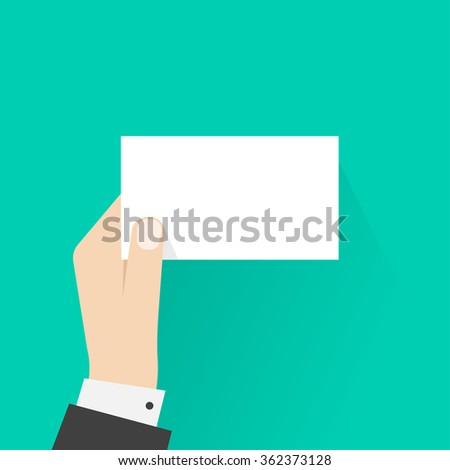 Business man hand holding card mockup template illustration, showing blank calling card, empty visiting card, small paper sheet frame, flat sign design isolated on green