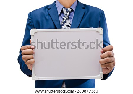 business man hand holding white board isolated on white background