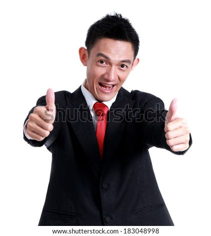 Business man hand icon like and smile on white background.