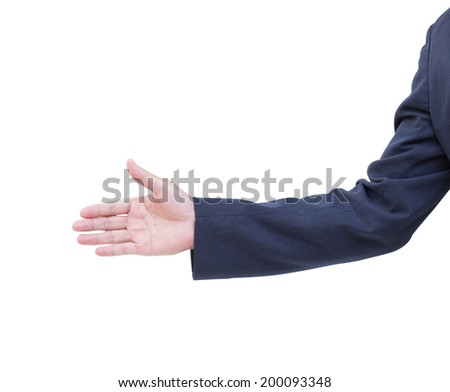 Business man hand isolated on white background