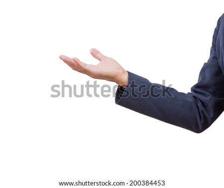 Business man hand isolated on white background, clipping path