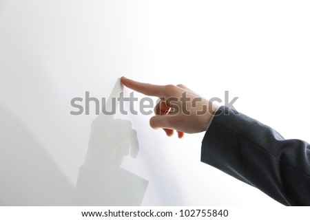 Business man hand point on blank touch screen,. Copy space - stock photo