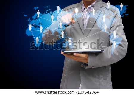business man hand point to virtual social network structure diagram