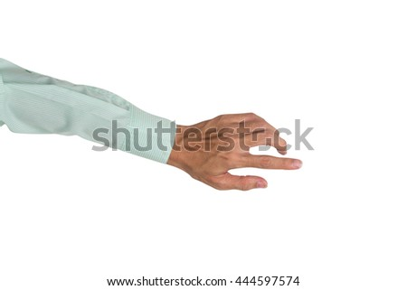 Business man hand pointing to suggest his job, isolated on white background. - stock photo